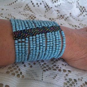 Boho Beaded Festival Cuff Bracelet